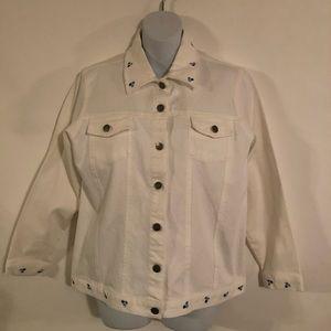 Denim & Co . Jacket Women's Size M White